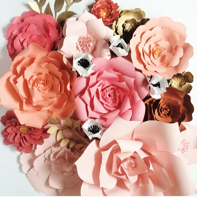 Paper Flowers by PaperFlora, Coral Peach and Gold Paper Flowers for weddings, events or home decor