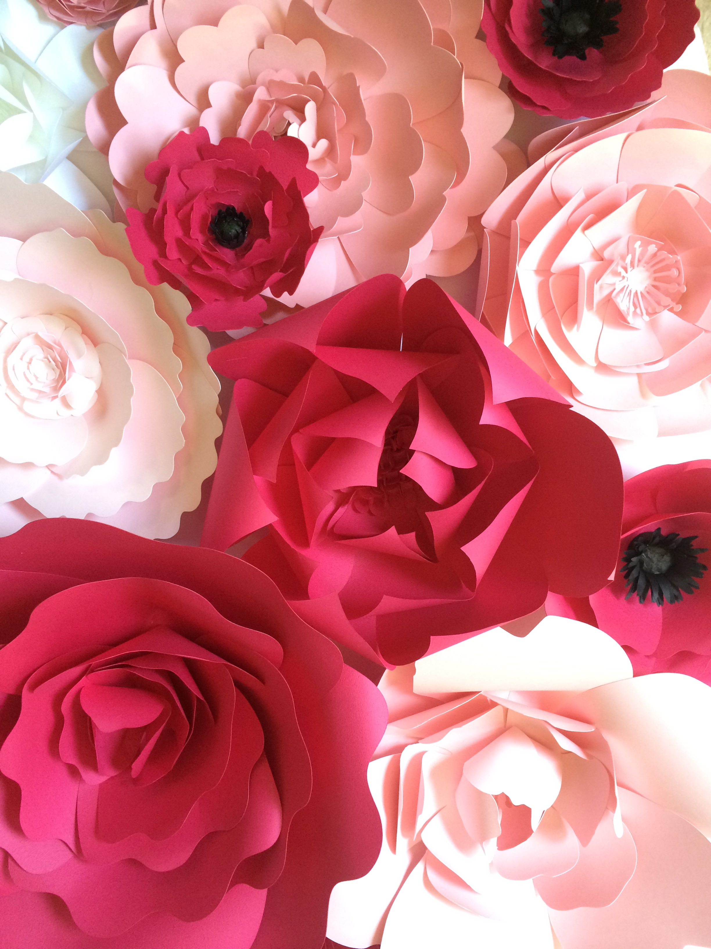 Pink paper flower wall by PaperFlora