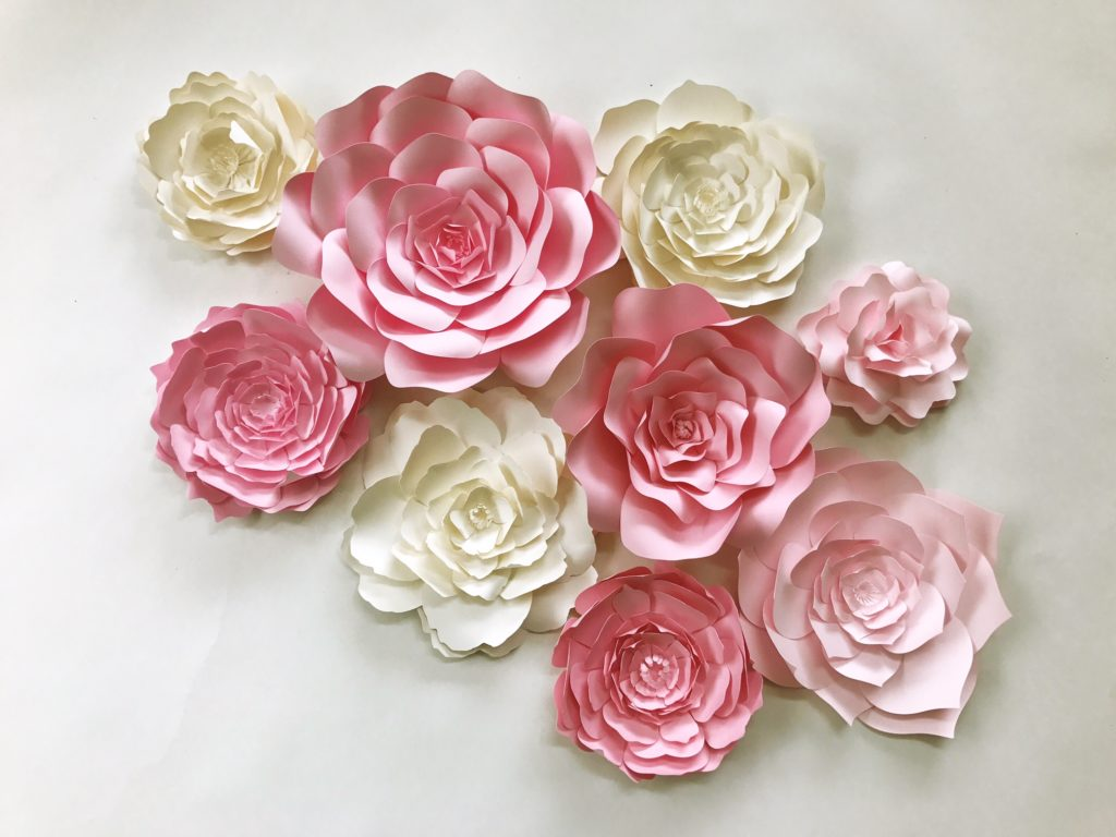 Paper flower wall art for in pink and ivory, available in custom colors by paperflora.com