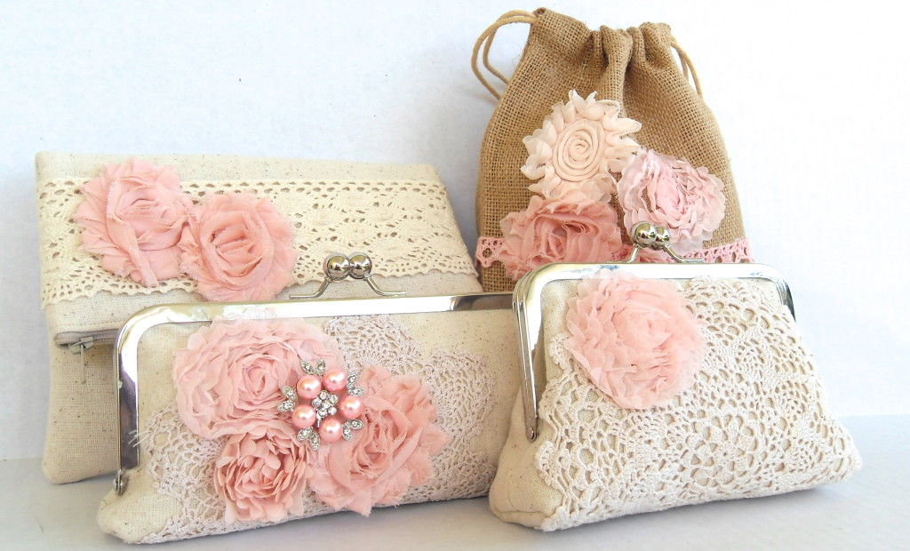 Shabby Chic wedding clutches