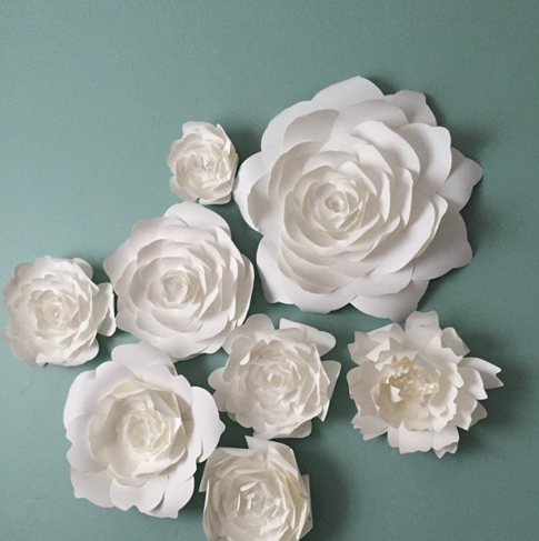 Paper Flower home decor by PaperFlora, flower backdrop, photo wall, white paper flower wall