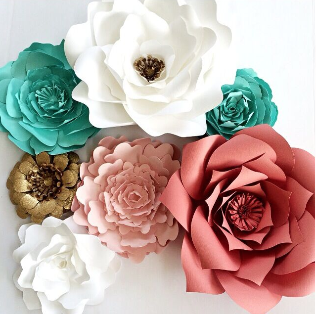 Paper Flowers by PaperFlora, coral paper flowers, nursery decor, nursery wall art, pink white and gold wedding