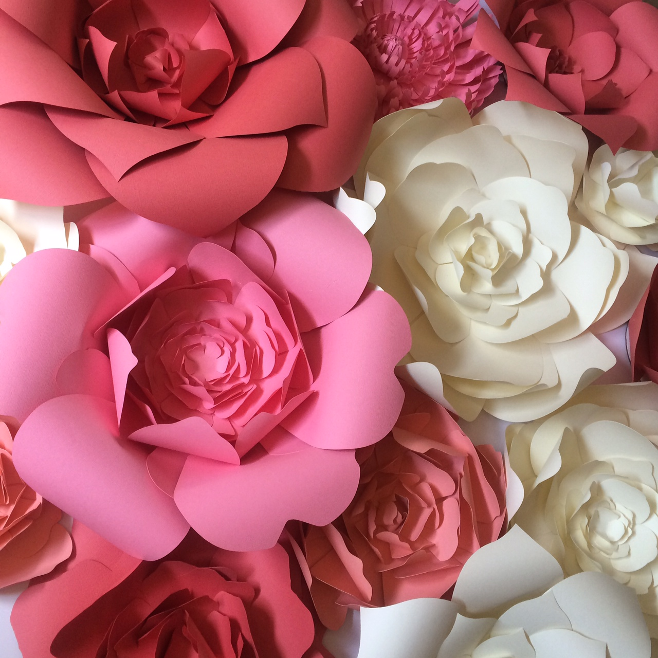 large paper flowers pink