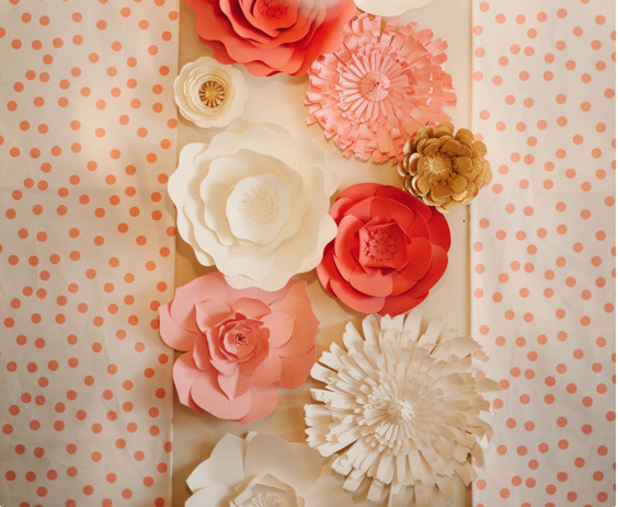 Wall Decor Flowers paper flower wall decor - the perfect palette coral and gold