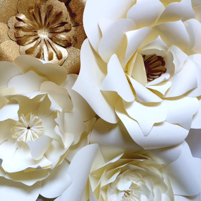 ivory and gold large paper flowers