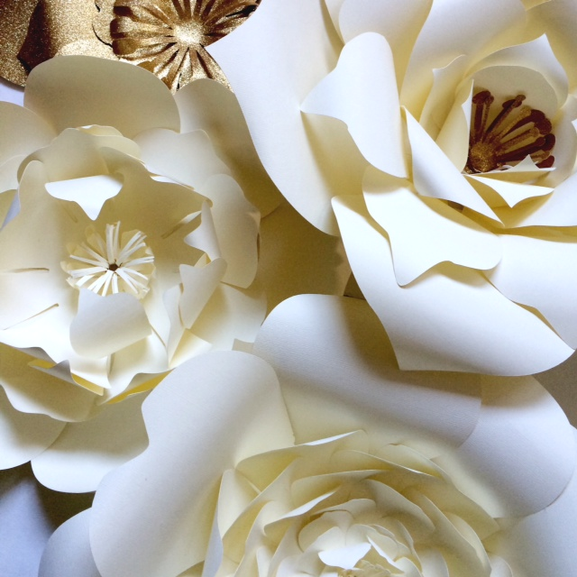 Large paper flowers for events backdrops or home decor paperflora ivory and gold large paper flowers mightylinksfo Images