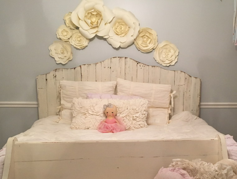 Paper flower home decor little girls room decor with for How to make home decorations