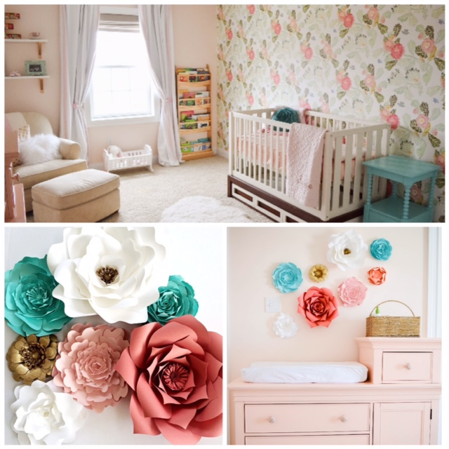 Diy Baby Nursery Floral Wall Decor: Paper Flower Nursery Wall Art
