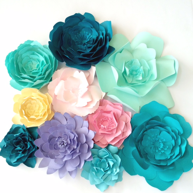 Pastel paper flowers by PaperFlora.com