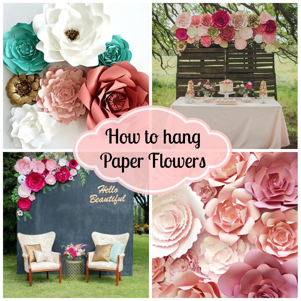 Diy paper flower backdrop for wedding and events paperflora how to hang paper flowers at events weddings and home decor mightylinksfo