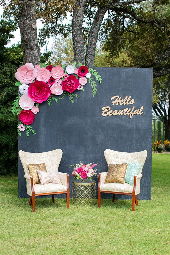 Paper Flower chalkboard backdrop by PaperFlora