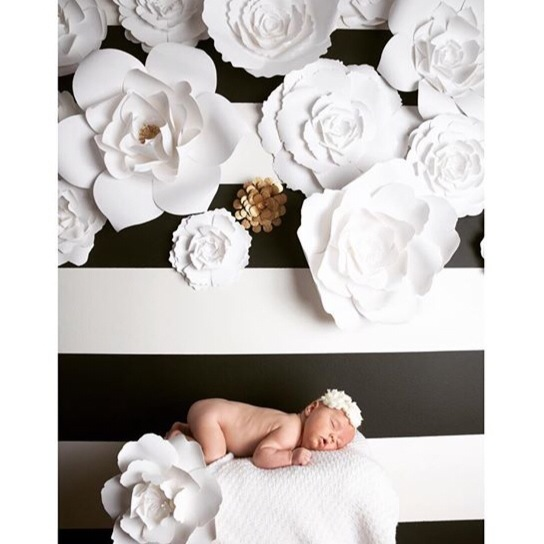 White and Gold paper flowers by PaperFlora, Kate Spade floral backdrop, black and white backdrop, Nursery wall decor black white and gold